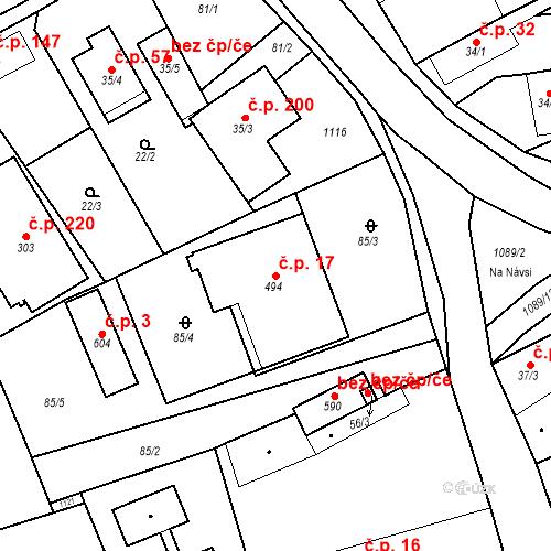 Katastrální mapa Stavební objekt Psáry 17, Psáry