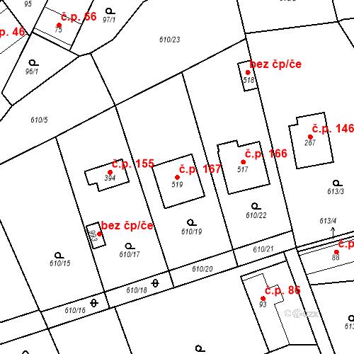 Katastrální mapa Stavební objekt Psáry 167, Psáry