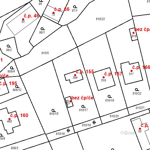 Katastrální mapa Stavební objekt Psáry 155, Psáry