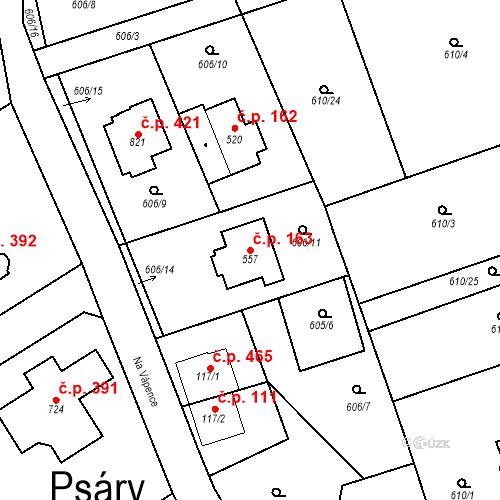 Katastrální mapa Stavební objekt Psáry 163, Psáry