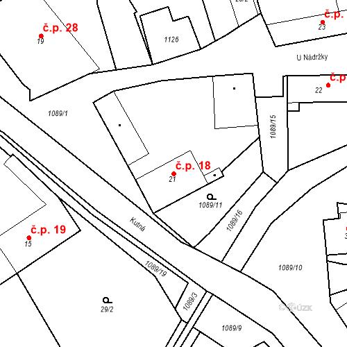 Katastrální mapa Stavební objekt Psáry 18, Psáry