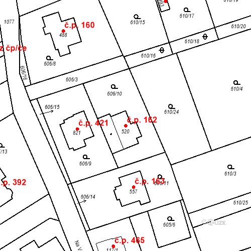 Katastrální mapa Stavební objekt Psáry 162, Psáry