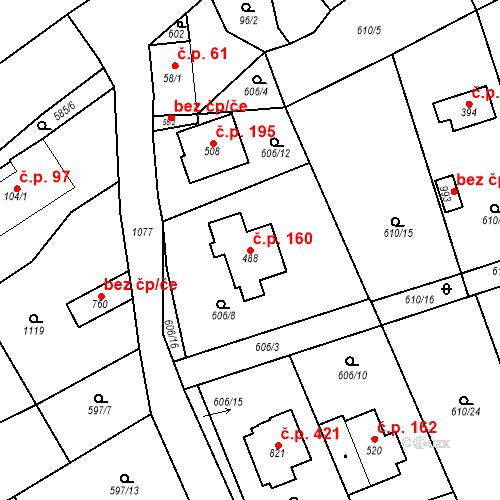 Katastrální mapa Stavební objekt Psáry 160, Psáry
