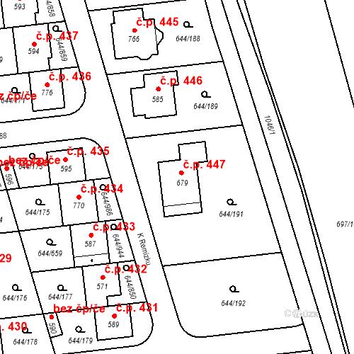 Katastrální mapa Stavební objekt Vestec 447, Vestec