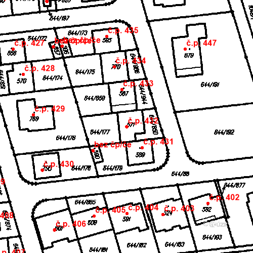 Katastrální mapa Stavební objekt Vestec 432, Vestec