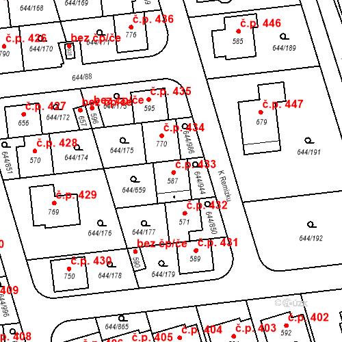 Katastrální mapa Stavební objekt Vestec 433, Vestec
