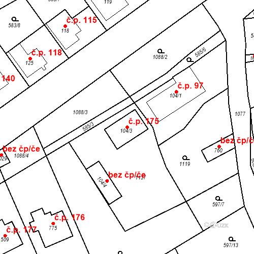 Katastrální mapa Stavební objekt Psáry 175, Psáry