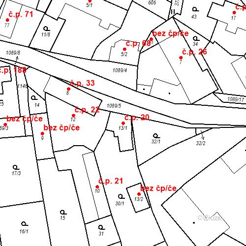 Katastrální mapa Stavební objekt Psáry 20, Psáry