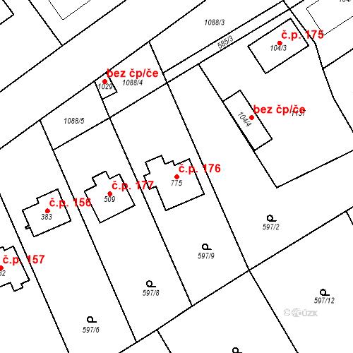 Katastrální mapa Stavební objekt Psáry 176, Psáry