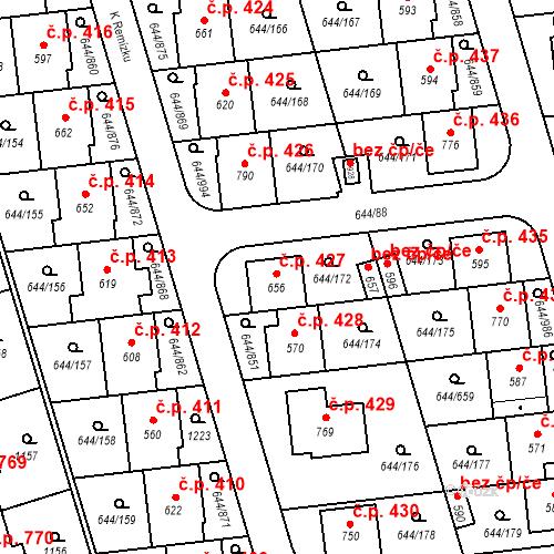 Katastrální mapa Stavební objekt Vestec 427, Vestec