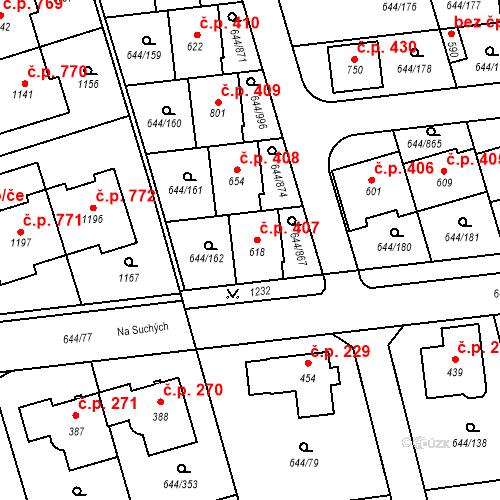 Katastrální mapa Stavební objekt Vestec 407, Vestec