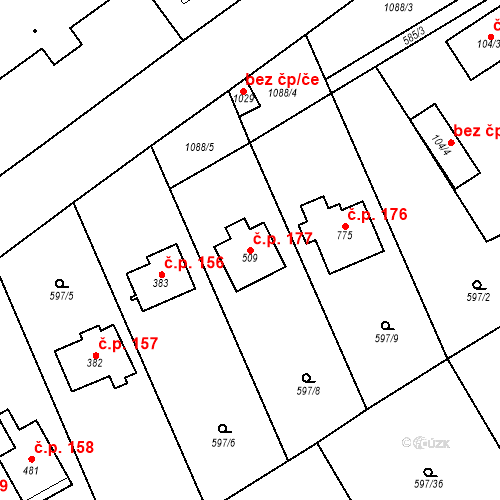Katastrální mapa Stavební objekt Psáry 177, Psáry