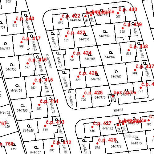 Katastrální mapa Stavební objekt Vestec 425, Vestec