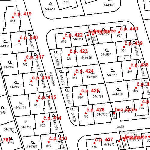 Katastrální mapa Stavební objekt Vestec 424, Vestec