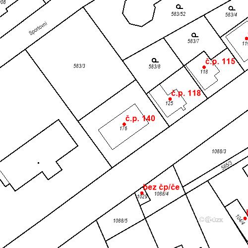Katastrální mapa Stavební objekt Psáry 140, Psáry