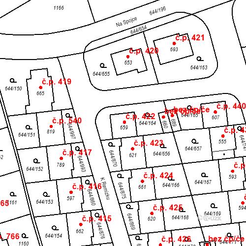 Katastrální mapa Stavební objekt Vestec 422, Vestec
