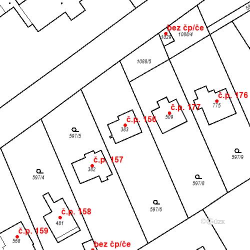 Katastrální mapa Stavební objekt Psáry 156, Psáry