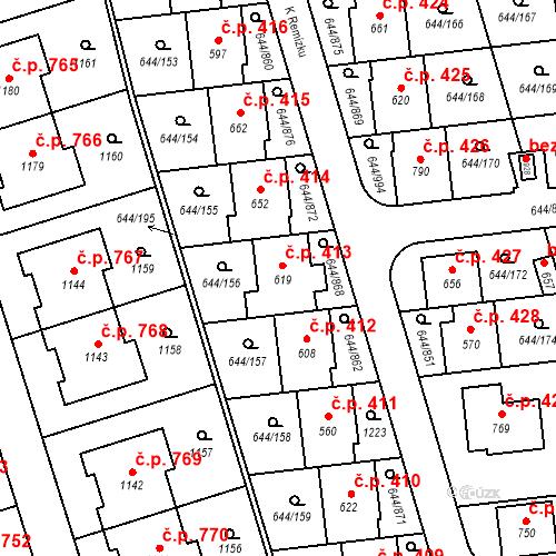 Katastrální mapa Stavební objekt Vestec 413, Vestec