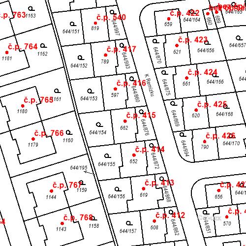 Katastrální mapa Stavební objekt Vestec 415, Vestec