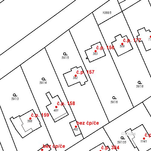 Katastrální mapa Stavební objekt Psáry 157, Psáry