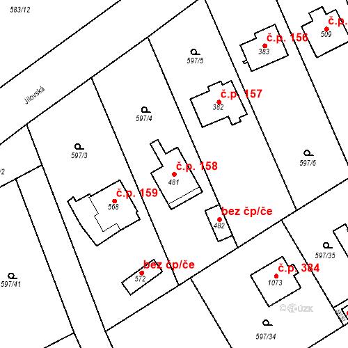 Katastrální mapa Stavební objekt Psáry 158, Psáry