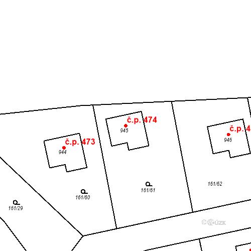 Katastrální mapa Stavební objekt Psáry 474, Psáry