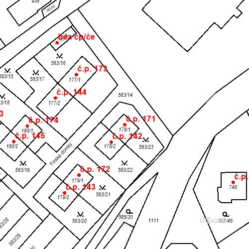Katastrální mapa Stavební objekt Psáry 171, Psáry