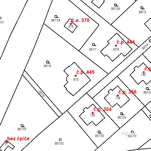 Katastrální mapa Stavební objekt Psáry 445, Psáry