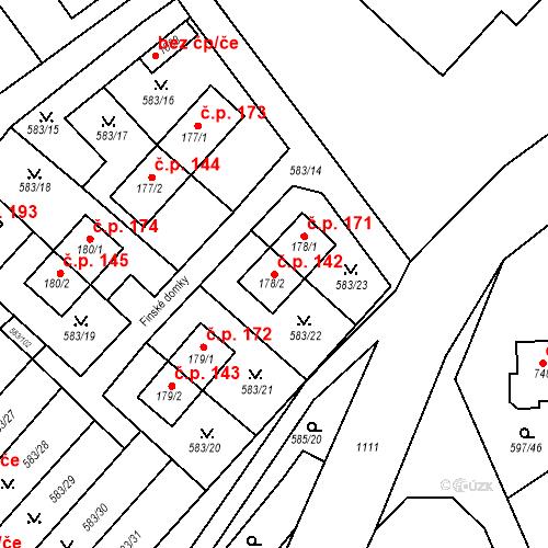 Katastrální mapa Stavební objekt Psáry 142, Psáry