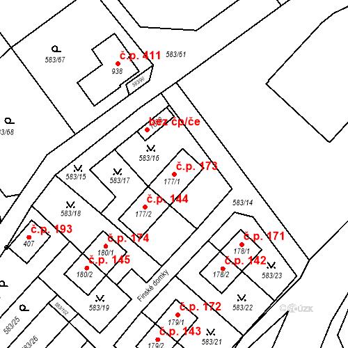 Katastrální mapa Stavební objekt Psáry 173, Psáry