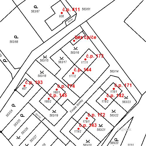 Katastrální mapa Stavební objekt Psáry 144, Psáry
