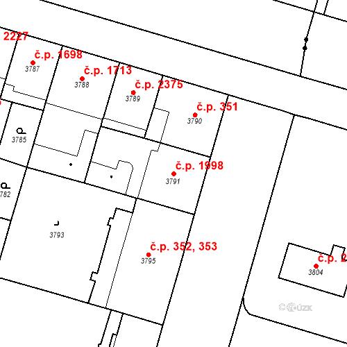 Katastrální mapa Stavební objekt Vinohrady 1998, Praha