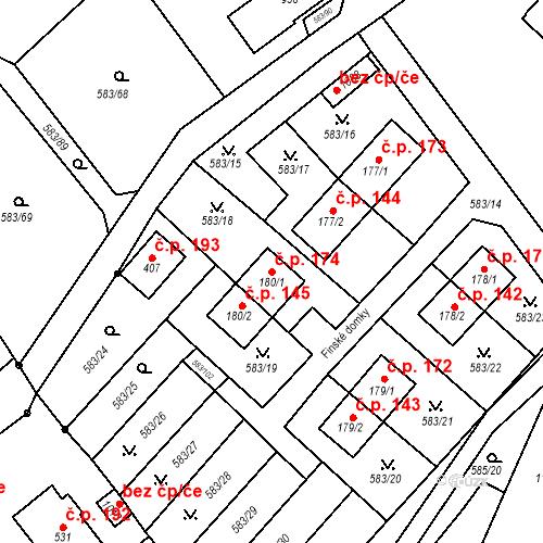 Katastrální mapa Stavební objekt Psáry 174, Psáry