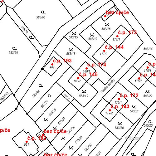 Katastrální mapa Stavební objekt Psáry 145, Psáry
