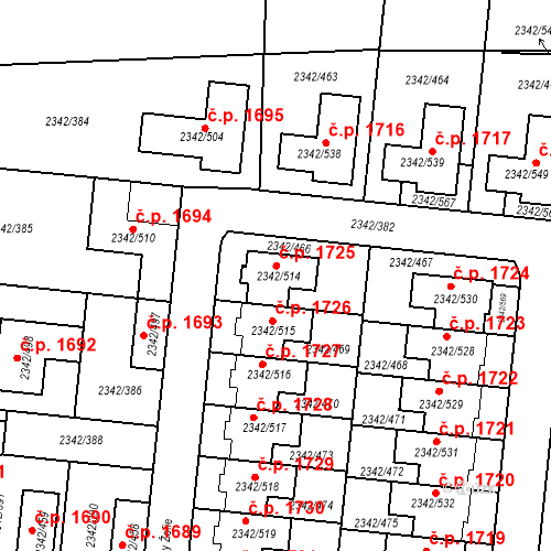 Katastrální mapa Stavební objekt Kunratice 1725, Praha