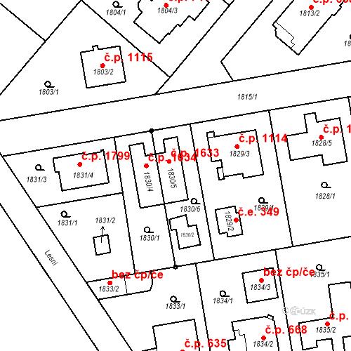 Katastrální mapa Stavební objekt Kunratice 1633, Praha