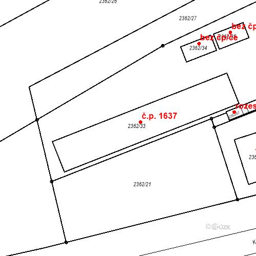 Katastrální mapa Stavební objekt Kunratice 1637, Praha