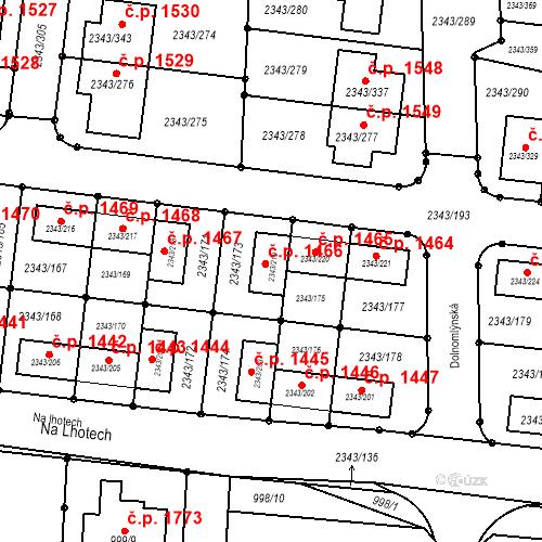 Katastrální mapa Stavební objekt Kunratice 1466, Praha
