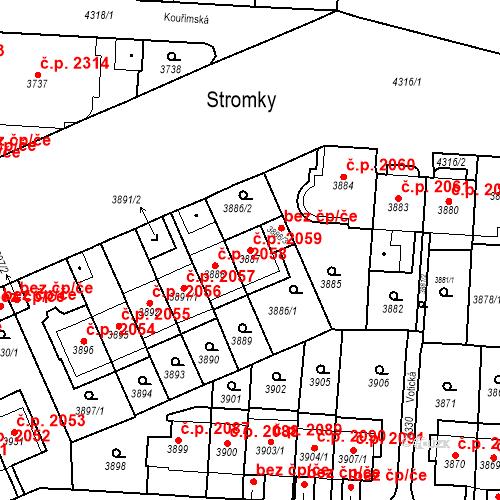 Katastrální mapa Stavební objekt Vinohrady 2059, Praha