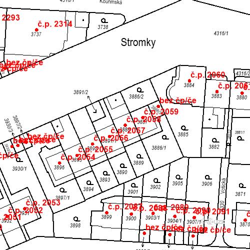 Katastrální mapa Stavební objekt Vinohrady 2058, Praha