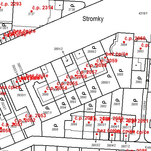 Katastrální mapa Stavební objekt Vinohrady 2057, Praha