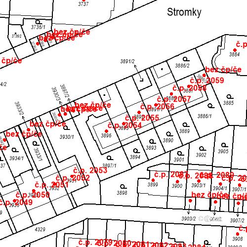 Katastrální mapa Stavební objekt Vinohrady 2055, Praha