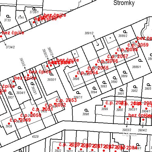 Katastrální mapa Stavební objekt Vinohrady 2054, Praha