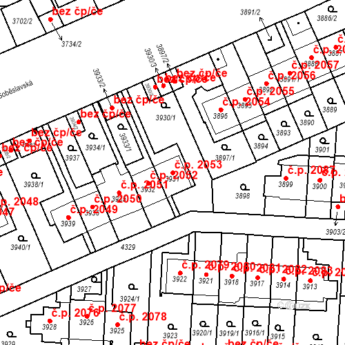 Katastrální mapa Stavební objekt Vinohrady 2053, Praha