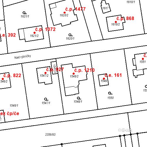 Katastrální mapa Stavební objekt Kunratice 1210, Praha