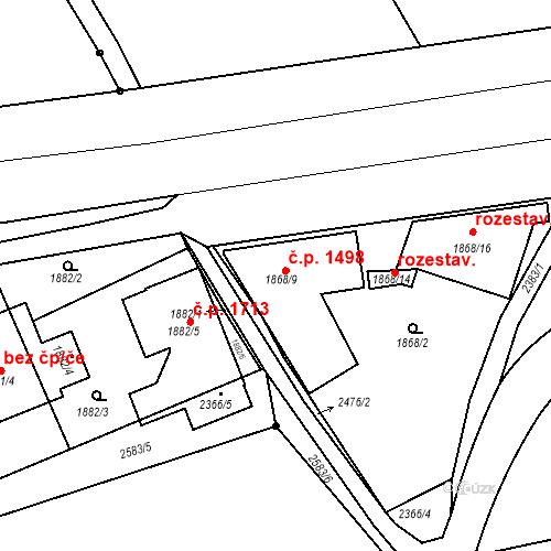 Katastrální mapa Stavební objekt Kunratice 1498, Praha