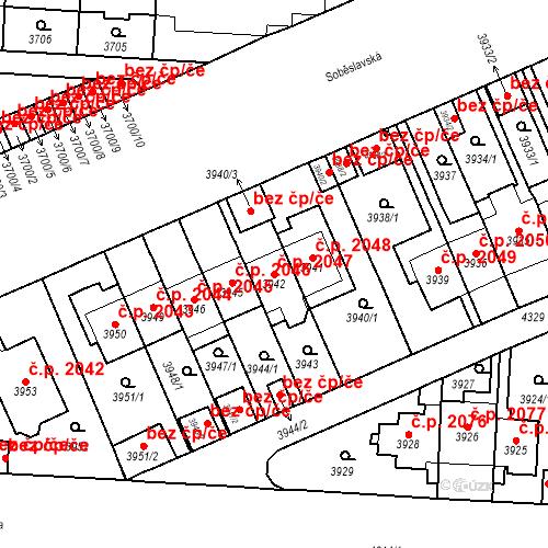 Katastrální mapa Stavební objekt Vinohrady 2047, Praha