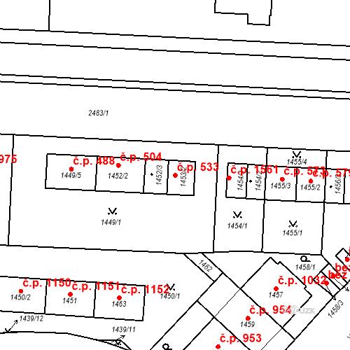 Katastrální mapa Stavební objekt Vršovice 533, Praha