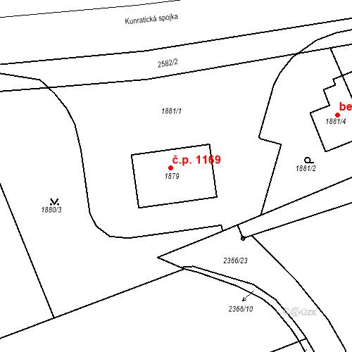 Katastrální mapa Stavební objekt Kunratice 1169, Praha
