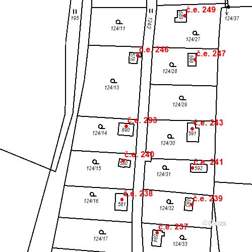 Katastrální mapa Stavební objekt Zdiby 293, Zdiby